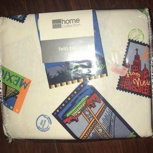 NWT Travel Themed Twin Sheet Set